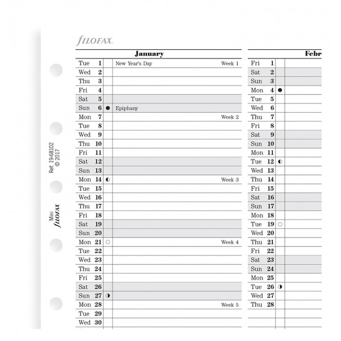Vertical Year Planner Mini 2019