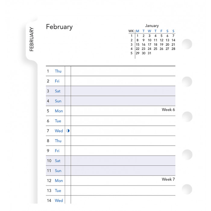 Month On Two Pages Diary With Tabs Pocket