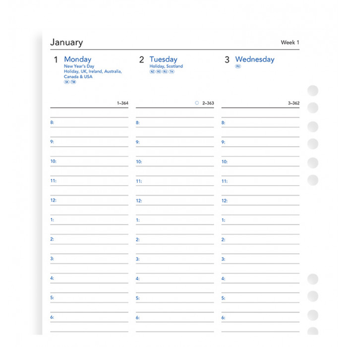 Week On Two Pages Diary With Appointments A5 Multifit 2019
