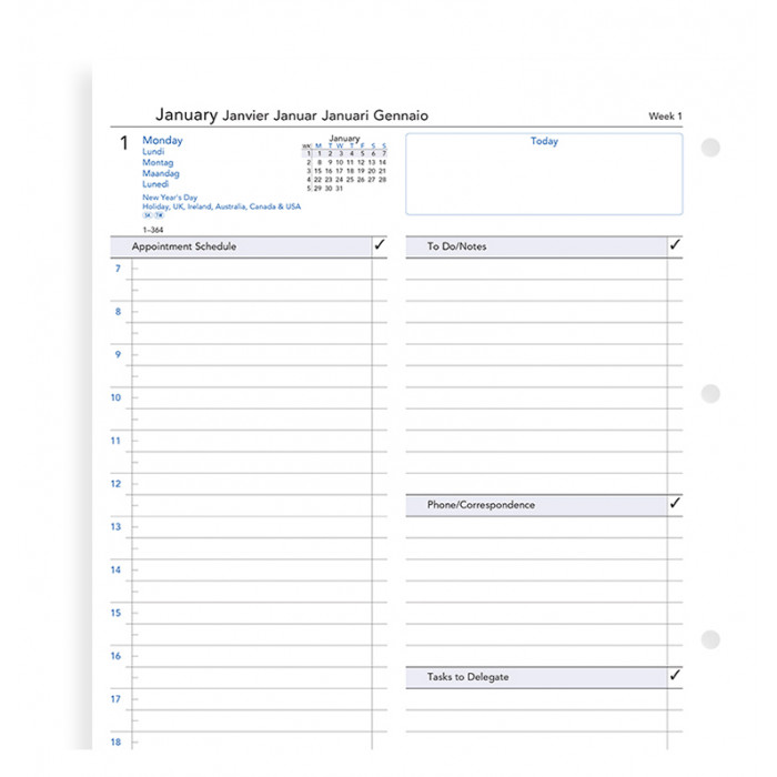 One Day On A Page Business Diary A4
