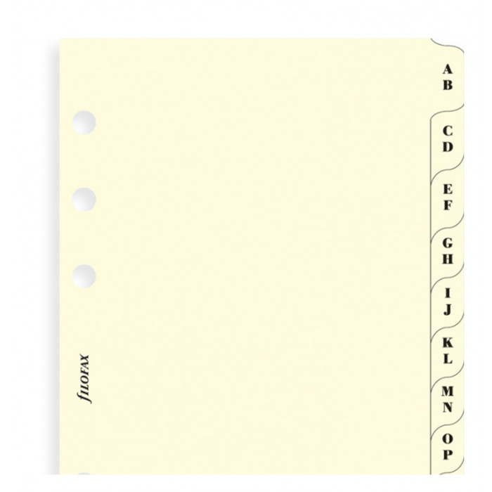 A-Z Index Cream Pocket - Two Letters Per Tab